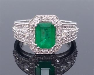 Outstanding EFFY Designer Signed 2.04 Carat Natural Emerald and Diamond Ring in 14k White Gold; $6424.00 MSRP