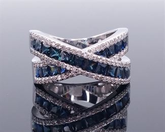 Upscale, Beautiful EFFY Designer Signed 2.65 Carat Natural Sapphire and Diamond Ring in 14k White Gold; $5749.00 MSRP