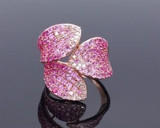 Breathtaking!  3.67 Carat Natural Pink Sapphire and Diamond Statement Ring in 14k Yellow Gold; $5624.00 MSRP