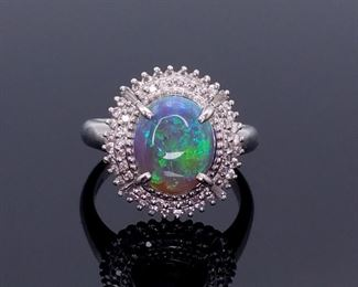 Magnificent 3.10 Carat Natural Opal and Diamond Estate Ring in Platinum; $8,500 Retail