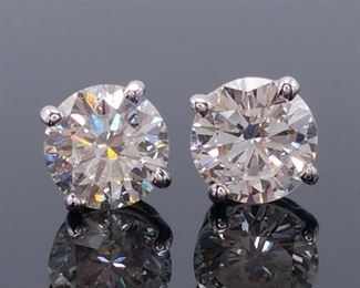 Brand New Standout 14k White Gold Diamond Stud Earrings 1.42 carats: $7900 Retail