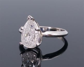 2.00 Carat Pear Shape Diamond Solitaire set in 14k White Gold Ring; $14,925 Retail