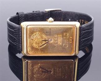 Collectible 18k Corum 24k 15 Gram Gold Bar Ingot Watch, Manual Wind, Leather Strap. Working! $6850 Retail
