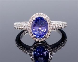 Exquisite EFFY Designer Signed 1.49 Carat Natural Tanzanite and Diamond Ring; $3624.00 MSRP