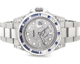 Mens Stainless Steel Rolex GMT Master II 40 MM 116710 Sapphire and Diamond Watch, $41,999 Retail