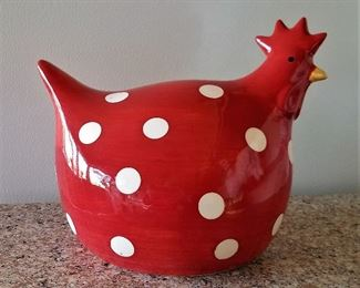 Red Chicken with white polka dots! We have all kinds of chickens and roosters from metal to ceramic to wood.