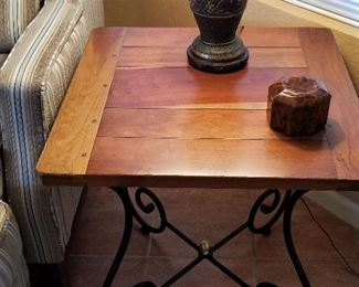 Wood and metal side table. There are 2 available.