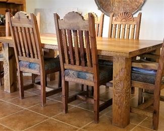 Gorgeous southwest dining table and chairs all hand carved.