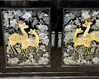 Oriental black lacquer mother of pearl inlay furniture