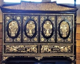 Oriental Asian black lacquer mother of pearl inlay furniture