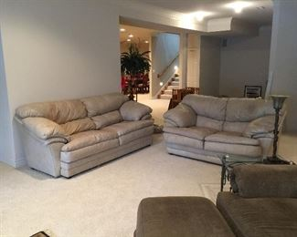 Sealy Leather Couch and Loveseat