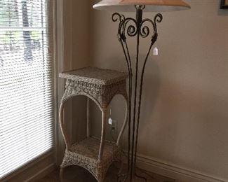 Wicker Table & Floor Lamp