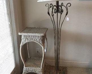 Wicker Table, Floor Lamp