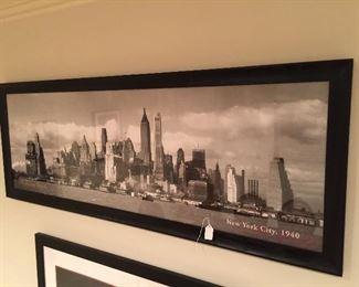 """""""Manhattan Skyline""""  New York City 1940 - Z gallerie framed poster art"""