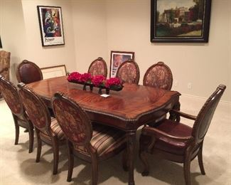 """Schnadig Dining Table/8 Chairs.  103"""" long, 44"""" wide (including two leaves)."""