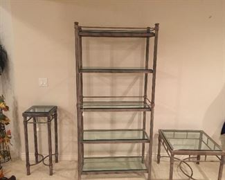 Heavy metal glass shelving unit!  Have assorted matching tables.