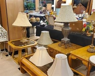Lots of coffee and end tables!  These are solid oak.