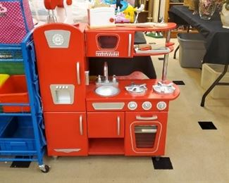 ABSOLUTELY ADORABLE kitchen!  Also have pretend food, dishes, appliances, and look at this organizational bin cart!
