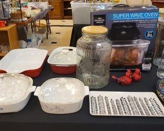 Corning Ware, small kitchen appliances, pretty serving pieces, Super Wave Oven