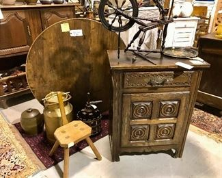 French tilt wine table & carved jelly cabinet