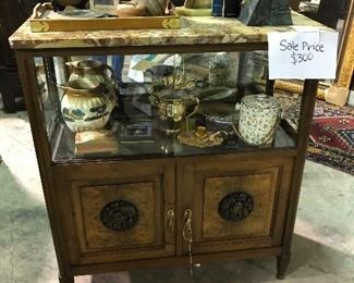 Marble top walnut display cabinet