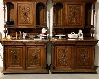 Matching pair carved French cabinets