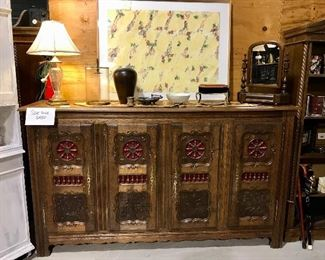 French Breton carved Cabinet