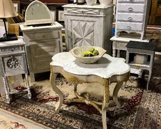 Selection of painted French accent cabinets & chests
