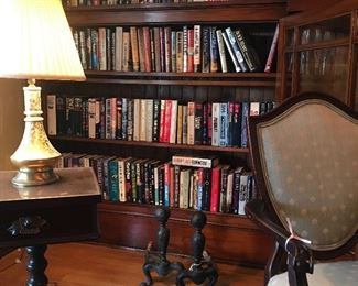 Antique furniture, brass lamp, books- first editions, rare & paperbacks. pair of antique cast iron adirons
