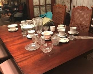 Antique dining table. Chairs. Various china, crystal, etc.