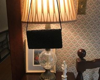 Vintage evening bags, lamp, etc.