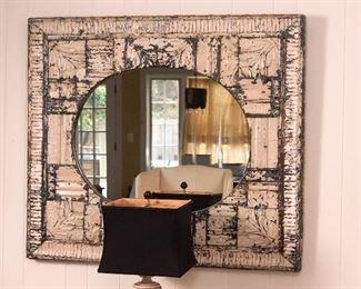 Pressed tin mirror