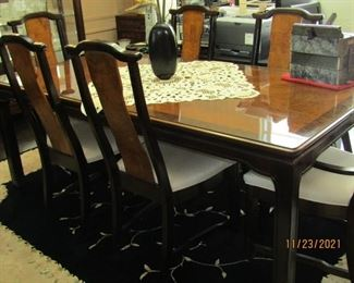 GORGEOUS DINING ROOM SET WITH 6 UNIQUE CHAIRS AND A GORGEOUS DR TABLE WITH BURL CENTER AND AN ADDITIONAL LEAF TO MAKE IT LONGER IF NEEDED
