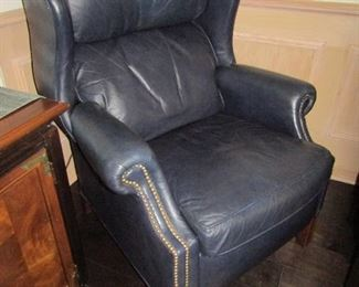 THIS IS A RECLINER.. ALL DARK BLUE LEATHER
