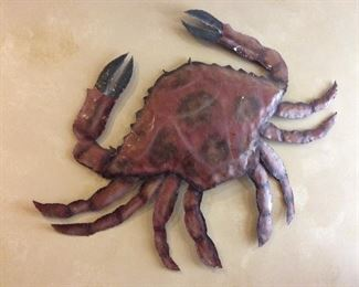 "48"" W Large Crab Metal Art."