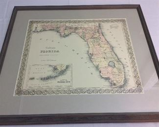 "Colton's Florida 1859 Reprint, 26"" x 22 1/2""."