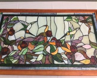 "36"" x 22"" Stained Glass Hummingbirds."