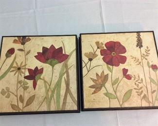 "Red Flower Prints, 12"" x 12""."