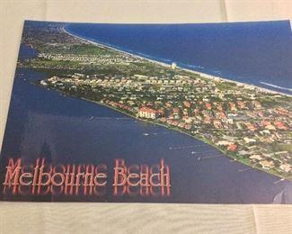 "Melbourne Beach Aerial Photograph Laminated, 17"" x 11""."