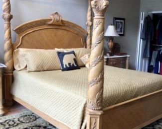 Athena poster bed with metal canopy by Bernhardt