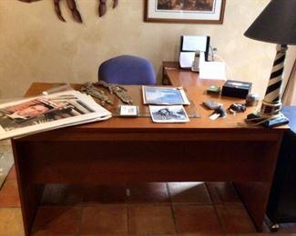 L shaped wooden office desk