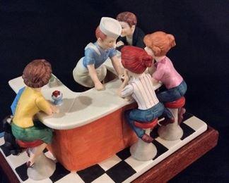 Norman Rockwell Porcelain Figurine Soda Jerk.