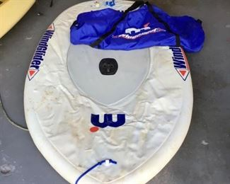 Inflatable windsurfer including sail