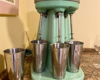 Vintage porcelain Hamilton Beach 3 Head milk shake mixer