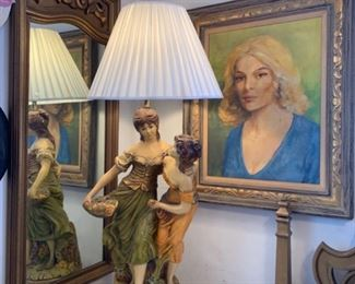 Monumental Chalk Ware Table Lamp of Garden Maidens; Self-Portrait of Ester
