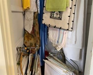 closet of table cloths and table runners