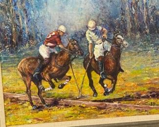 Polo Players by B.  Black original oil