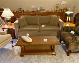 The living/family room is next! About time! Lot 4340 - 4345 Featuring Ethan Allen Sofa and Occasional Tables.