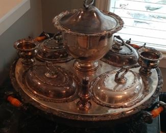 FABULOUS SILVER PLATE LAZY SUSAN --JUST NEEDS SOME POLISH BUT TRULY FABULOUS!   $600
