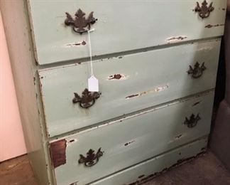 Rustic green 3 drawer chest.  $69.